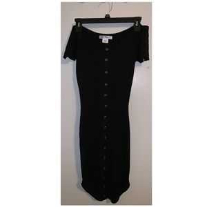 So What? Forever 21 Black Bodycon Button Dress